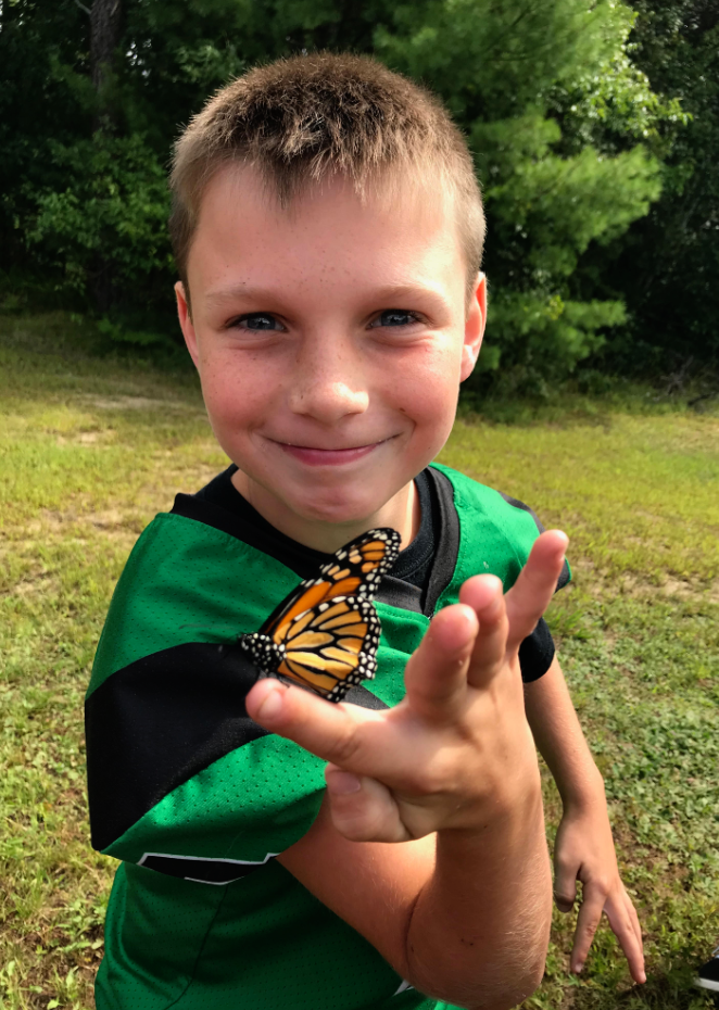 Patrick with a Monarch Butterfly!