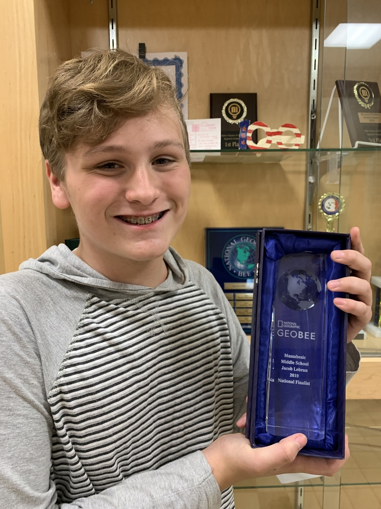 MMS 8th grader Jacob Lebrun received his National Finalist trophy for last spring's participation in the National Geographic Geo Bee last spring in Washington, D.C. We continue to be proud of you, Jacob!