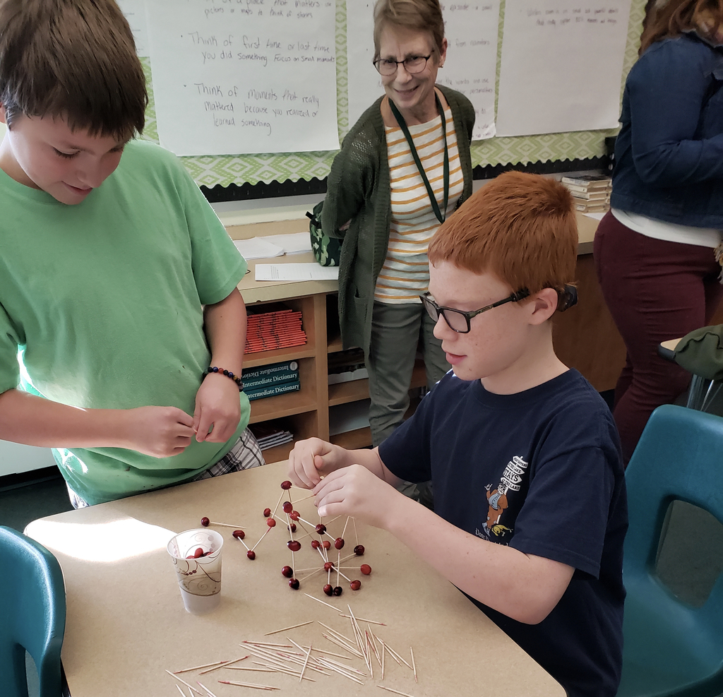 Students building a cranberry tower