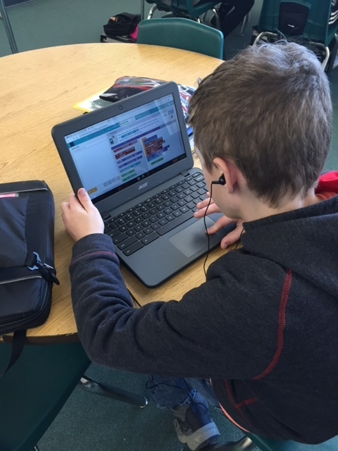 Student working on Hour of Code