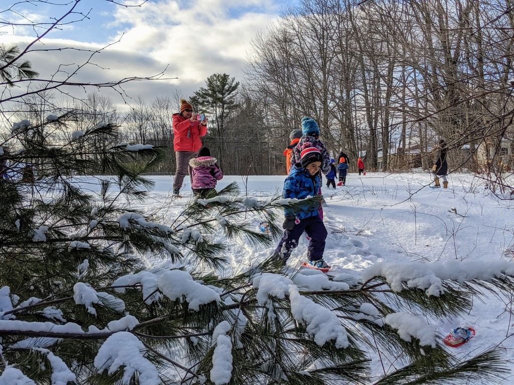 Pre-K enjoys the beauty of Maine winter while snowshoeing at Shapleigh School. (1/7/2020)