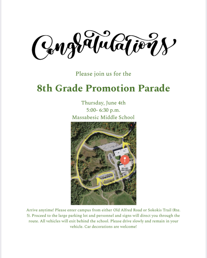 Invitation to the 8th grade promotion parade